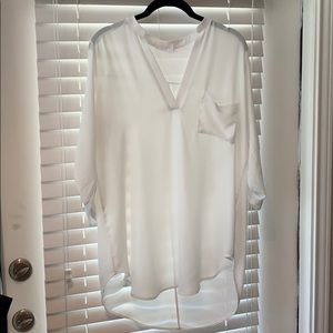 Lush Perfect Roll Tab Sleeve Tunic Sz Med Ivory